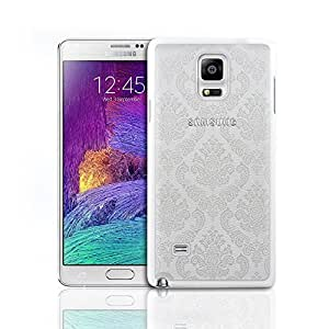 Okfan Galaxy Note 4 Case Damask Pattern rubber Case Ultra Slim Hard Cover for Samsung Galaxy Note 4 White