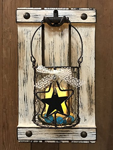 Jar Wall Decor CANDLE HOLDER Metal Chicken Wire Jar Shutter with Buttons Country Farmhouse Decor *Distressed Rustic White – LED Battery Operated Light *9X16 Review