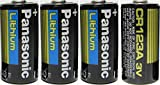 Panasonic CR123 CR123A 3V Lithium Battery (4 Pack) in Reusable Clam Shell