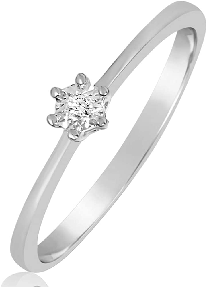 MILLE AMORI ∞ Anillo Mujer Compromiso Oro y Diamantes - Oro Blanco 9 Kt 375 ∞ Diamantes 0.01 Kt