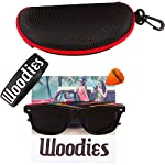 Woodies Rainbow Wood Sunglasses with Black Polarized Lenses 13 Handmade from Rainbow Wood (50% Lighter than Ray-Bans) Includes FREE Carrying Case, Lens Cloth, and Wood Guitar Pick Polarized Lenses Provide 100% UVA/UVB Protection