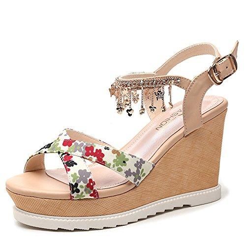 Cuña Tamaño Summer Y Vestido Oficina Mujer Libre Zapatos Para uk3 Comfort De B El cn34 Eu35 Al Aire B color Mujeres Hebilla Carrera Platform Spring Haizhen w0pIq1w