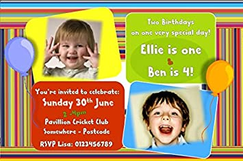 personalised joint birthday party invitations amazon co uk toys