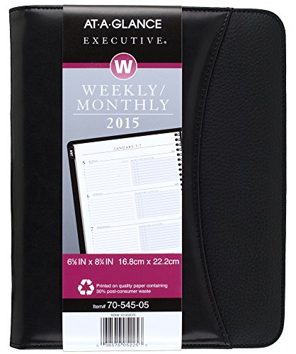 2015 Executive Calendar - AT-A-GLANCE Executive Weekly and Monthly Appointment Book 2015,  6.88 x 8.75 Inch Page Size, Black (70-545-05)