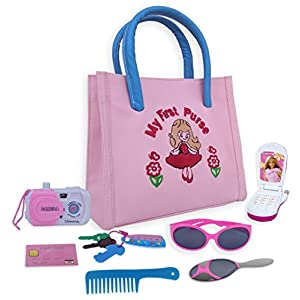 Calaqai My First Purse - Pretend Play Purse Set for Girls with Handbag, Flip Phone Car Keys, Kids Credit Card, Hair Comb, Mirror, Sun Glasses & Camera - Great Educational Toy for Fun & Learning