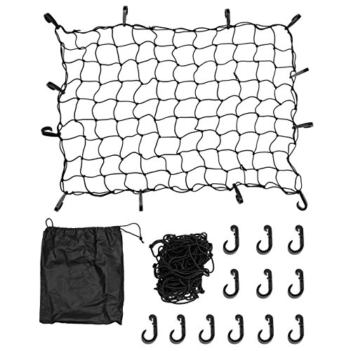 DEDC 3 x 4 Inches Cargo Net Black, Truck Bed Bungee Nets with 12 Tangle-Free D Clip Carabiners, Stretches to 70 x 94 Inches for Truck SUV Trailer Boat RV