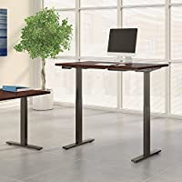 Move 60 Series 48W x 24D Height Adjustable Standing Desk in Harvest Cherry with Black Base