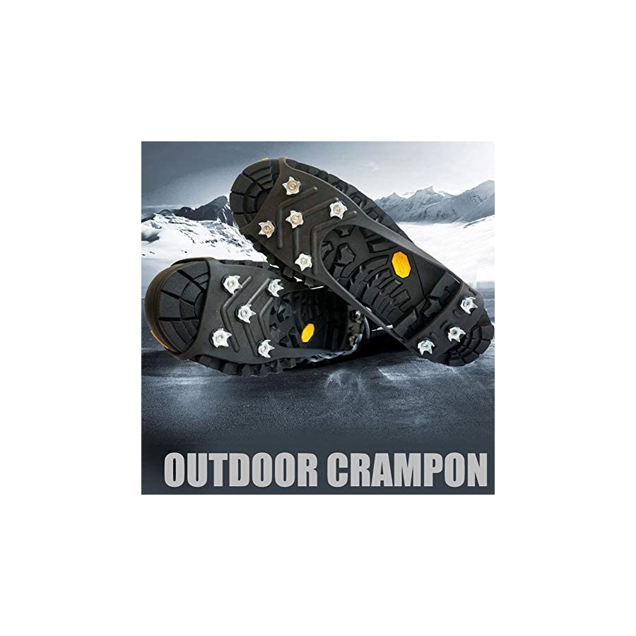 Embeau Traction Cleats Ice Snow Grips | Crampons Non Slip Ice & Snow Grips Cleat Over Shoe/Boot Traction Cleat Rubber Spikes, for Walking and Hiking(M Size)