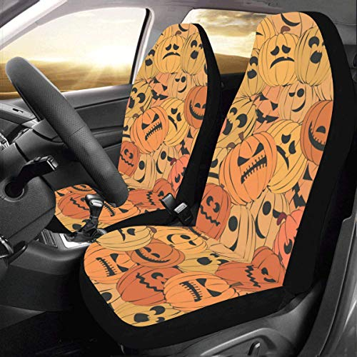 Artsadd Halloween Pimpkin Car Seat Covers (Set of 2) Best Automobile Seats Protector]()
