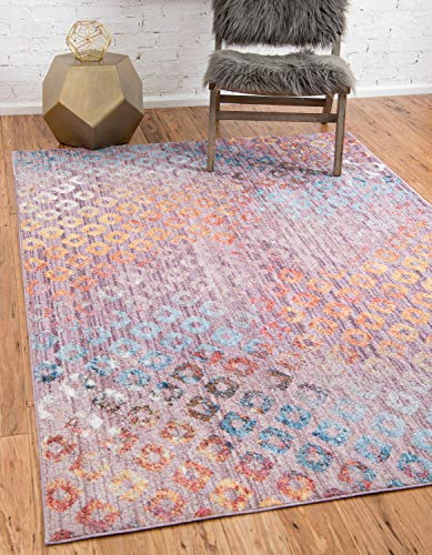 Unique Loom Rainbow Collection Geometric Abstract Modern Watercolor Lilac Area Rug (5' 3 x 7' 9)