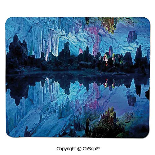 Premium-Textured Mouse pad,Illuminated Reed Flute Cistern with Artifical Crystal Palace Myst Cave Image,Water-Resistant,Non-Slip Base,Ideal for Gaming (7.87