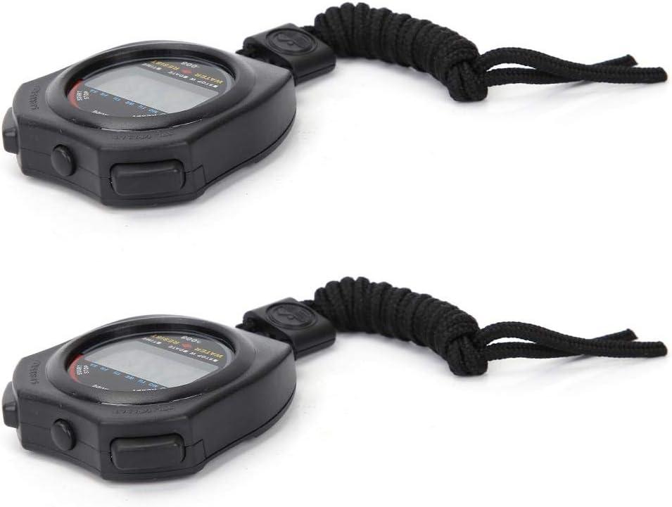 Temporizador de Cronómetro Digital de 2 Piezas, Cronómetro Deportivo de Mano LCD Multifuncional para Carreras, Natación