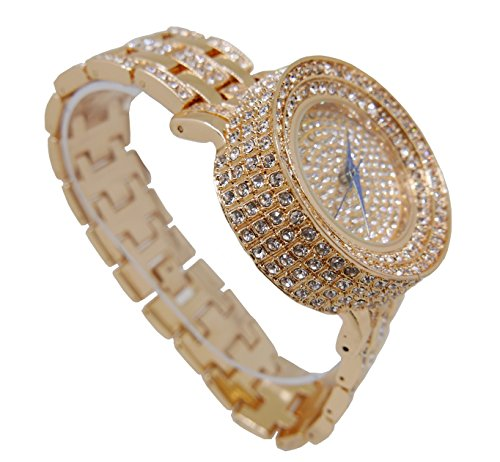 Gold Iced Out Watch - Thick is Rich! Iced Out Gold Mens Watch - L0489M Gold