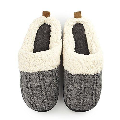 DEARFOAMS CLABE KNIT CLOG W/ SHEARLING CUFF Dark Heather Grey