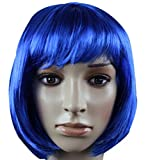 Fashion Cute COS Wigs for Children's Color Bobo Fluffy Short Straight Hair (dark blue)