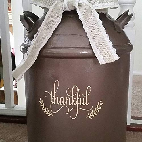 CELYCASY Thankful Decal for Milk Can, Thankful Sticker, Front Porch Decor, Fall Decor, Front Door Decal, Thanksgiving Decor