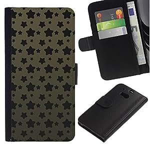 KingStore / Leather Etui en cuir / HTC One M8 / Modelo de estrella del Grunge