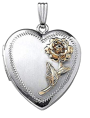 PicturesOnGold.com 14k White Gold Two-Tone Heart Locket - 1 Inch X 1 Inch with Engraving