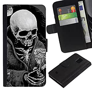 iBinBang / Flip Funda de Cuero Case Cover - Death Reaper Grim Black White Rose - Samsung Galaxy S5 Mini, SM-G800, NOT S5 REGULAR!