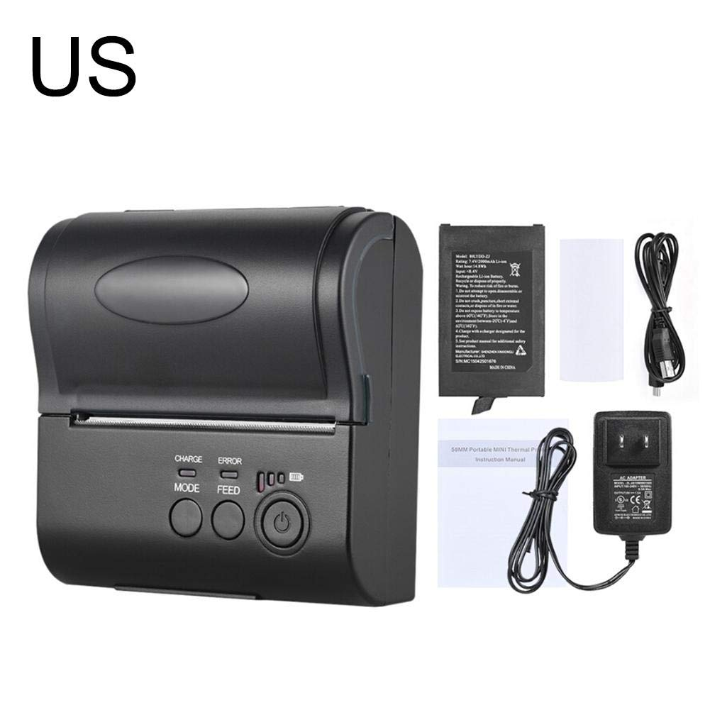 Bulary 80MM Wireless Bluetooth Thermal Printer Mini Portable Ticket Reception Bill Printing with Operating Indicator