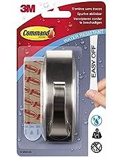 Command WMR03BN - Ganchos metálicos (resistentes al agua, tamaño L, hasta 2,3 kg de capacidad de carga, cuadrados, 1 gancho + 2 tiras), color cromado