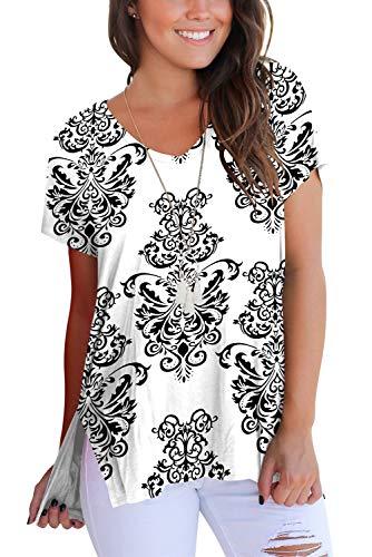 e71cad033b2 Womens Short Sleeve Floral Print V-Neck T-Shirt Tops | Weshop Vietnam