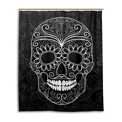 Wamika Day of The Dead Shower Curtain,Black White Skull Flowers Shower Bath Curtain Waterproof Liner 60x72 inch for Home Bathroom Decor Accessories with Hooks