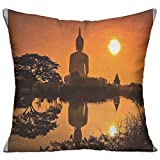 Mokjeiij Big Giant Statue By The River At Sunset Thai Asian Culture Scene Yin Yang Print Thanksgiving Pillow Cover Sofa Bed Decoration Square Cushion 1818.