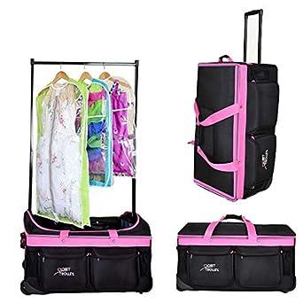 Closet Trolley Dance Bag With Garment Rack   PINK DANCE DUFFEL
