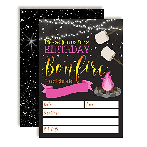 Backyard Bonfire Camping Under The Stars Birthday Party Invitations for Girls, 20 5
