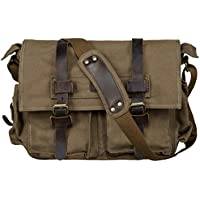 S-ZONE Vintage Canvas Leather Trim DSLR SLR Camera Shoulder Messenger Bag