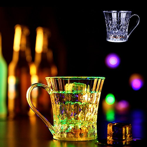 YOUDirect Flash Light Up Cups - 2 Pack LED Flashing Mugs Automatic Liquid Activated Plastic Shot Glasses Diamond Cup for Nightclub Bar KTV Birthday Party Halloween Christmas (2 pack)