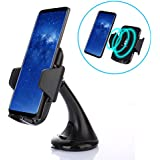 Qi Wireless Charger Car Mount, Fast Charge Air Vent, Dashboard & Windshield Car Mount Holder For Samsung Galaxy S8/S8+/S7 Edge, Standard Charger for iPhone 8/8+, iPhone X, Qi-Enabled Device Includes Dual USB Car Charger