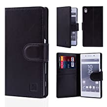 32nd® Premium Leather Wallet Case for Sony Xperia Z5 Compact, case made from genuine luxury Italian leather - Black