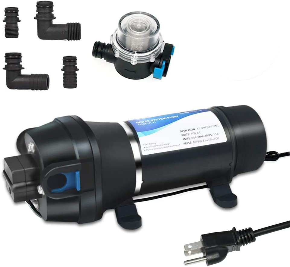 ECO-WORTHY Water Diaphragm Self Priming Pump, 45PSI 4.5GPM 17L/min High Pressure Water Pump 110V with Filter for Caravan, RV, Boat, Marine, Agriculture Applications