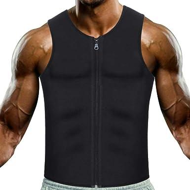 Men Waist Trainer Vest Hot Sweat Sauna Suit Shaper Zipper Tank Top Workout Shirt