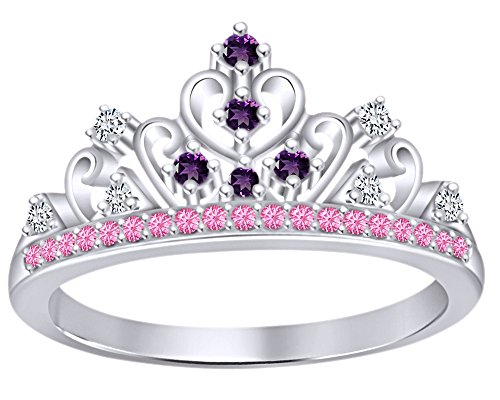 AFFY Round Cut Simulated Multi Stone Rapunzel Princess Style Engagement Wedding Crown Ring in 14k White Gold Over Sterling Silver with Ring Size -