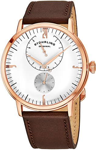 Stührling Original Mens Stainless Steel Formal Analog Dress Watch, Domed Crystal, Luxury Horween Leather Band, 24 Hour Subdial, 778 Cabaletta Watches Collection (Rose Gold)