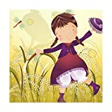 JIUMEI Polyester Fabric Dish Placemats 12 Inchx12 Inchx4 Pieces,Girl Kid With Dragonfly Dance In Wheat Field Dinner Mat Washable Heat-resistant for Dinning Table