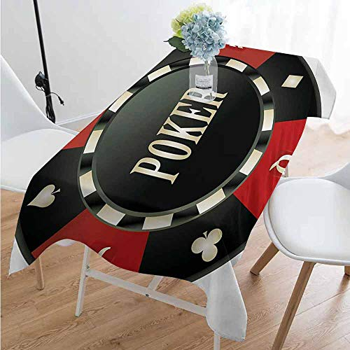 Playyee Poker Tournament Washable Long Tablecloth Casino Chip with Poker Word in Center Rich Icon Card Suits Print Dinner Picnic Home Decor W60 x L102 Inch Vermilion Army Green