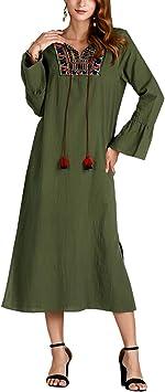 Vestido Bordado con Flecos Verde Militar De Las Mujeres del Medio ...