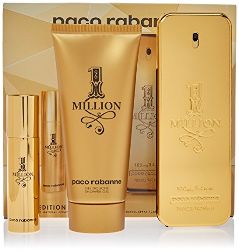 1 Million Fragrance By Paco Rabanne 3pc Travel Edition Gift Set 3.4 Fl.Oz. Eau De Toilette Spray + 3.4 S/G Men+10 ml-0.34 fl.spray Mini For Men (Gift Set Cologne Spray Perfume)