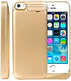 Sykiila 2200 Mah Universal Battery Case Rechargeable Backup Portable Charger for Iphone 5, 5s, 5c, with 4 LED Lights and Built-in Pop-out Kickstand Holder (Gold with Decal)