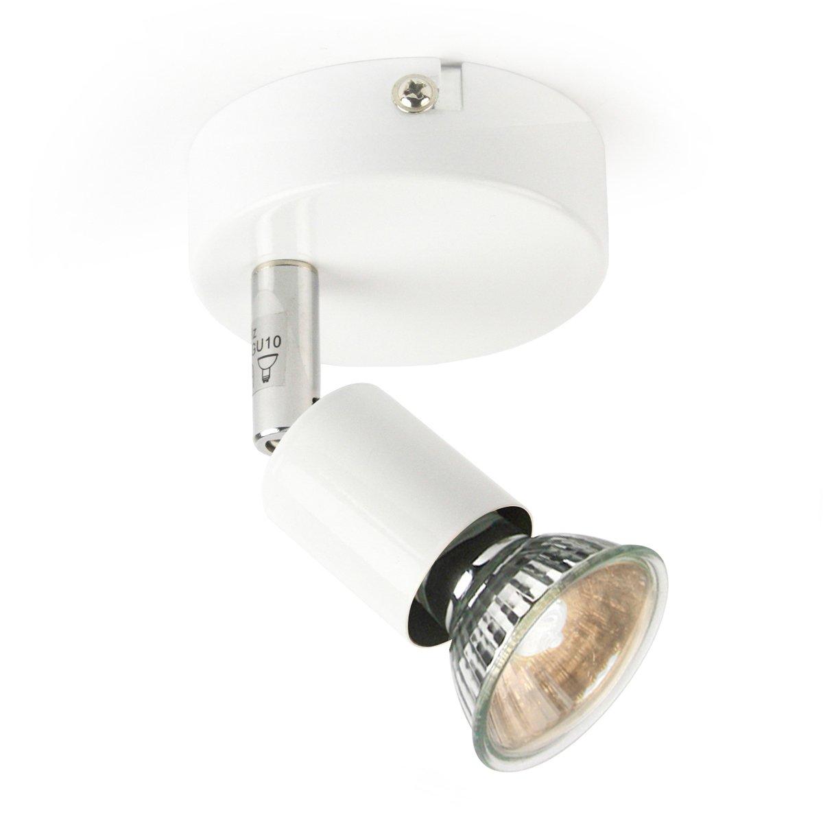 Moderna parete Spot 1luci bianco metallo–compreso 1X GU10Lampadina Girevole e neighbar in tutte le direzioni direttamente luce soggiorno camera da letto sala Base Line