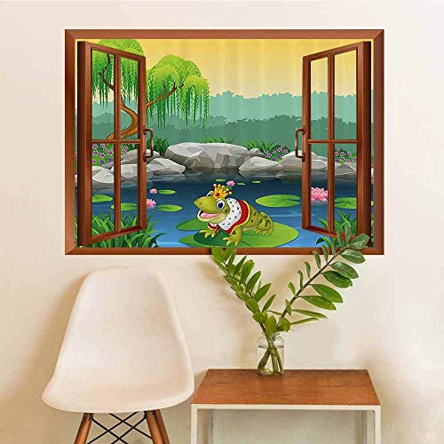 Cartoon Decor Stickers Silhouettes Glass Window Cute King Frog Sitting on The Lily Leaf in Lake Fun Nature Kids Childs Image Glass Window W12xL18 INCH (Kid Friendly Horses For Sale In Texas)