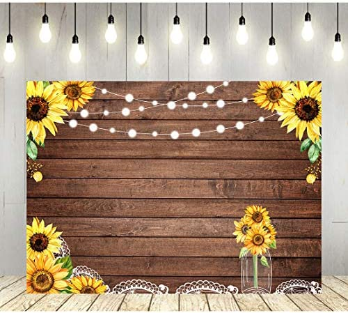 7x7FT Vinyl Photo Backdrops,Sunflower,Rustic Organic Nature Background Newborn Birthday Party Banner Photo Shoot Booth