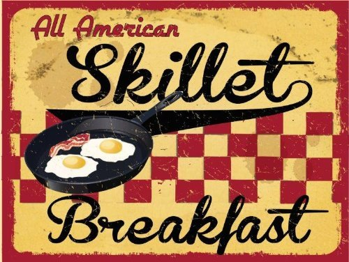 All American Skillet Breakfast Metal Sign, Retro Cafe, Restaurant, Kitchen Decor by Alma