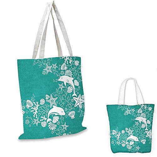 - Sea Animals easy shopping bag Dolphins Flowers Sea Life Floral Pattern Starfish Coral Seashell Wallpaper emporium shopping bag Sea Green White. 14