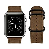 Compatible Apple Watch Band, top4cus Genuine Leather iwatch Strap Replacement Band with Stainless Metal Clasp for Apple Watch Series 3 Series 2 Series 1 Sport and Edition (42mm,Round Brown)