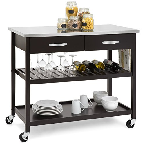 Best Choice Products Mobile Kitchen Island Utility Cart w/Stainless Steel Countertop, Drawers, and Shelves - Espresso